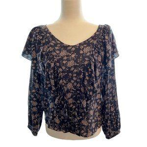 Hinge black floral ruffled blouse